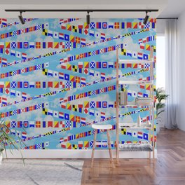 Maritime Signal Flags Pattern with Sailor Sayings Wall Mural
