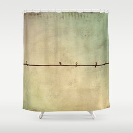 Sparrows on Wire Shower Curtain