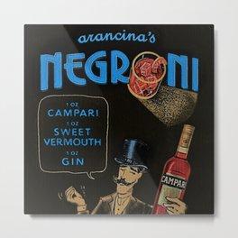 Blue Arancina's Negroni Campari Italian Sweet Vermouth with Gin Vintage Advertising Poster Metal Print