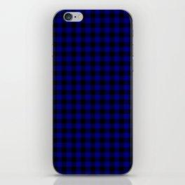 Navy Blue Buffalo Check Tartan Plaid - Blue and Black iPhone Skin