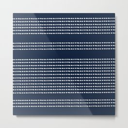 Spotted, Mudcloth, Navy Blue, Wall Art Boho Metal Print