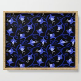 Midnight Blue Fuchsias & Vines Serving Tray