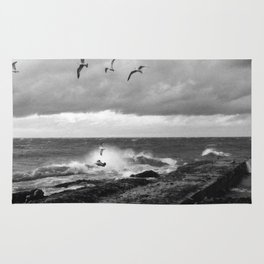 Storm at Five mile Point, Lake Superior Rug
