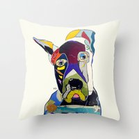 great dane Throw Pillows featuring Wally the great dane by bri.buckley