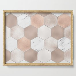 Rose pearl and marble hexagons Serving Tray