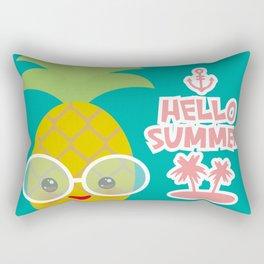 Hello Summer cute funny kawaii exotic fruit pineapple with sunglasses Rectangular Pillow