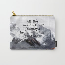 All the world's Great Journeys Motivational Tibetan Proverb With Panoramic View Of Everest Mountain Carry-All Pouch