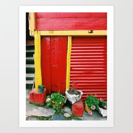 Red and yellow door in coffee and cacao farm in Colombia Art Print