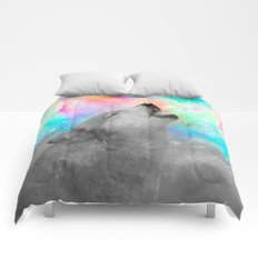 Breathing Dreams Like Air (Wolf Howl Abstract II: Gray) Comforters