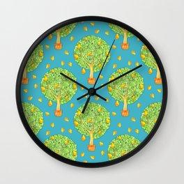 Pear Tree Pears Teal Pattern Wall Clock