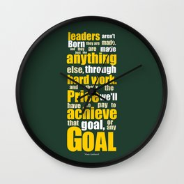 Lab No. 4 - Vince Lombardi Sport Inspirational Quotes Typography Poster Wall Clock