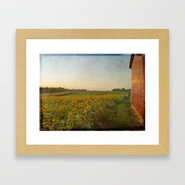 Setting Sun On Barn With Sunflowers Framed Art Print