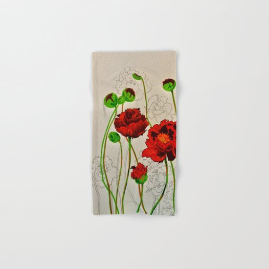 Very Red Flowers Hand & Bath Towel