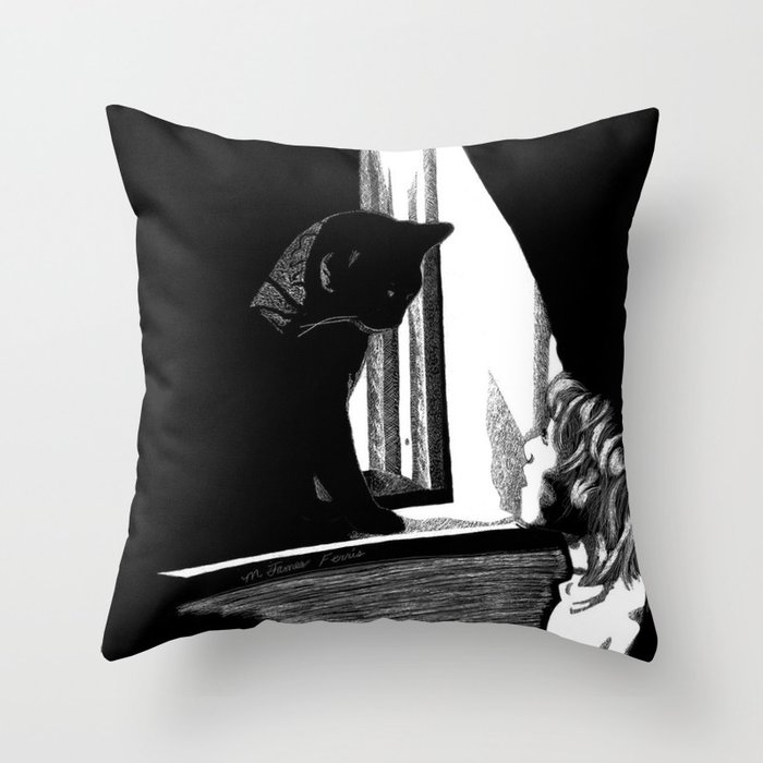 Two Curious Throw Pillow