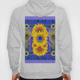 LILAC-BLUE PEACOCK JEWELED SUNFLOWERS Hoody