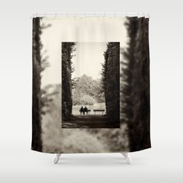 Couple sitting on bench Shower Curtain