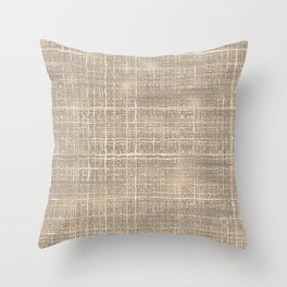 Beige Taupe Brown Jute Burlap Textile Pattern Throw Pillow