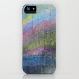 Surprise Valley colorful mixed media abstract landscape iPhone Case