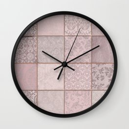 Romantic Pink Damask Patchwork Pattern Wall Clock