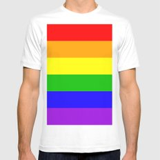 Rainbow Love Mens Fitted Tee MEDIUM White