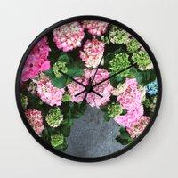 hydrangea Wall Clocks featuring Hydrangea  by Chelsea Victoria
