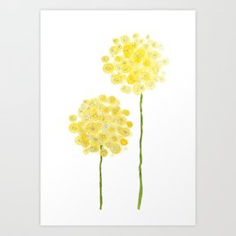 two abstract dandelions watercolor Art Print
