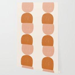Terracotta Mid Century Modern Abstract Wallpaper