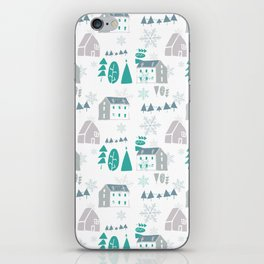 winter holiday houses iPhone Skin