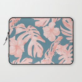 Tropical Palm Leaves and Hibiscus Pink Teal Blue Laptop Sleeve