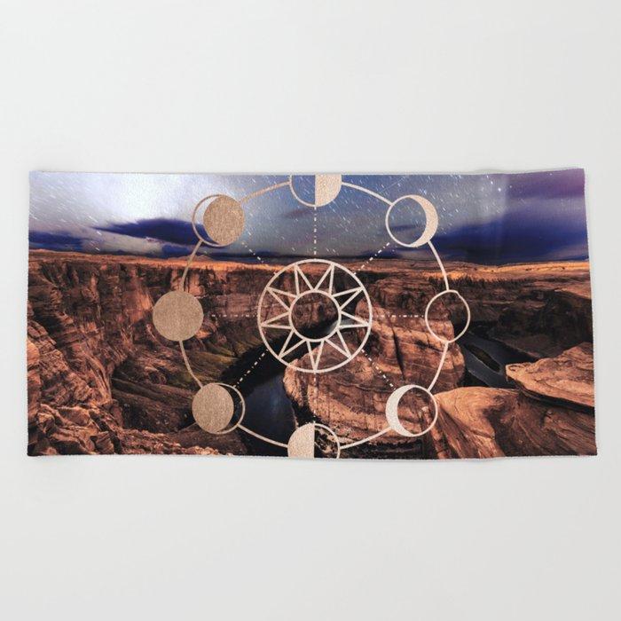 Mandala Southwest Desert Sun and Moon Phases Beach Towel