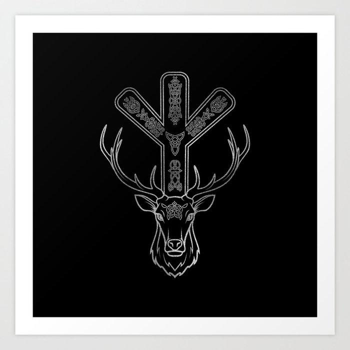 Algiz Rune And Deer In Silver Art Print By K9printart
