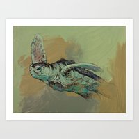 sea turtle Art Prints featuring Sea Turtle by Michael Creese