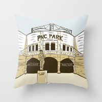 pittsburgh Throw Pillows featuring Pittsburgh Baseball by K. Sekelsky