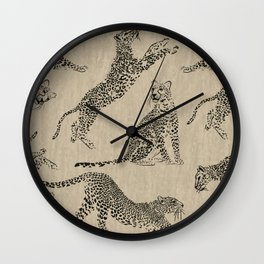 tan leopard pattern Wall Clock