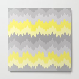 Yellow Grey Gray Ombre Chevron Abstract Zigzag Metal Print