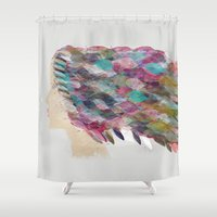 belle Shower Curtains featuring femme belle by bri.buckley