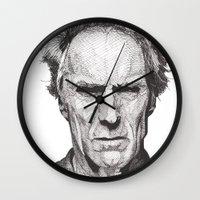 clint barton Wall Clocks featuring Clint by Rik Reimert
