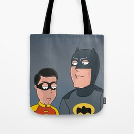 Caped Crusader and the Boy Blunder..... Tote Bag