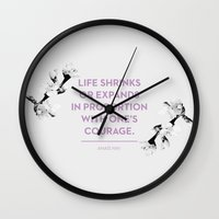 courage Wall Clocks featuring Courage by Heart of Hearts Designs