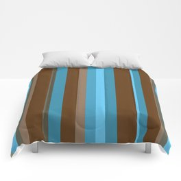 brown and blue stripes Comforters