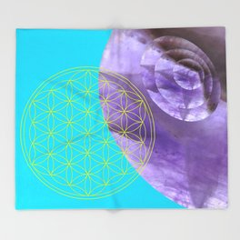 Mystical Flower of Life Amethyst #society6 Throw Blanket