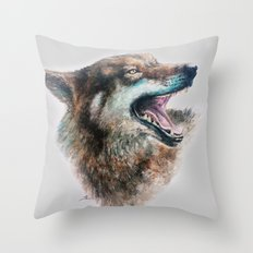 Wolf smile Throw Pillow