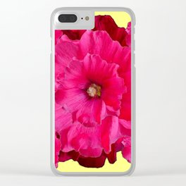 YELLOW FUCHSIA-PINK  DOUBLE  HOLLYHOCK FLOWERS GARDEN Clear iPhone Case