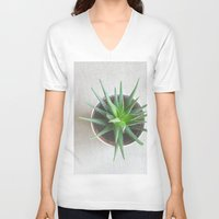 succulent V-neck T-shirts featuring Succulent by OldRedCanoe