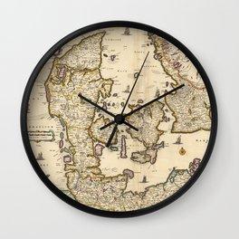 Vintage Map of Denmark (1690) Wall Clock