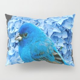 BLUE BIRD & BLUE HYDRANGEAS GREY ART Pillow Sham