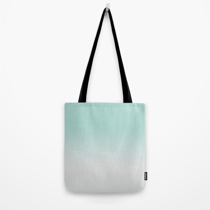 Ombre Duchess Teal and White Smoke Tote Bag