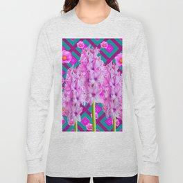 PURPLISH-PINK ROSES & HYACINTHS TEAL PATTERN ART Long Sleeve T-shirt