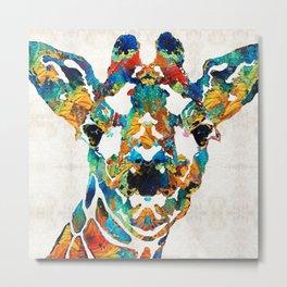 Colorful Giraffe Art - Curious - By Sharon Cummings Metal Print