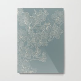 Blue Inked Orchids Metal Print